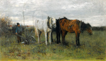 A Girl A Ploughing Farmer | Anton Mauve | oil painting