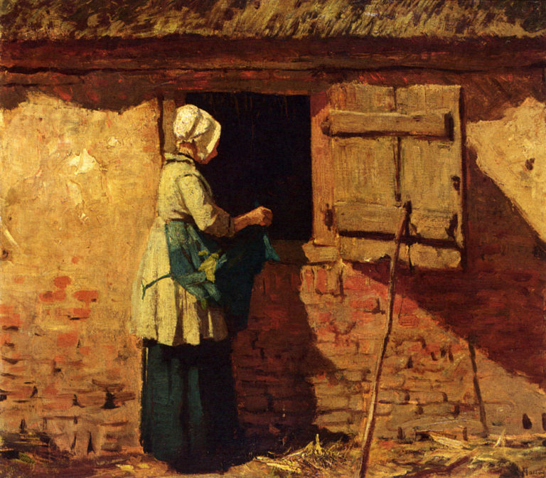 A Peasant Woman By A Barn | Anton Mauve | oil painting