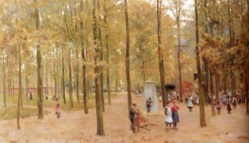 The Brink In Laren With Children Playing | Anton Mauve | oil painting