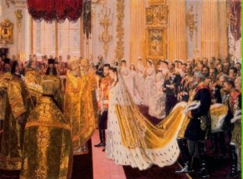 Wedding of Nicholas II and Grand Princess Alexandra Fyodorovna | Tuxen Laurits | oil painting