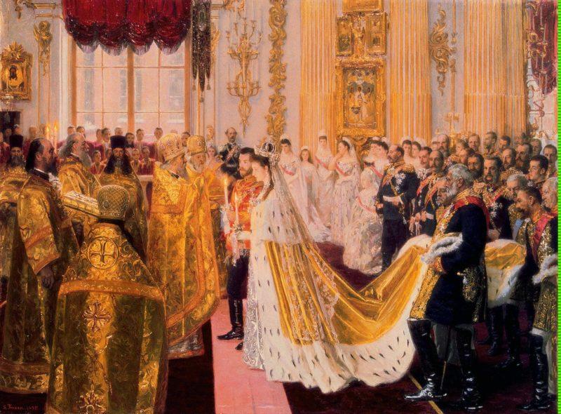 Wedding of Nicholas II and Grand Princess Alexandra Fyodorovna   Tuxen Laurits   oil painting