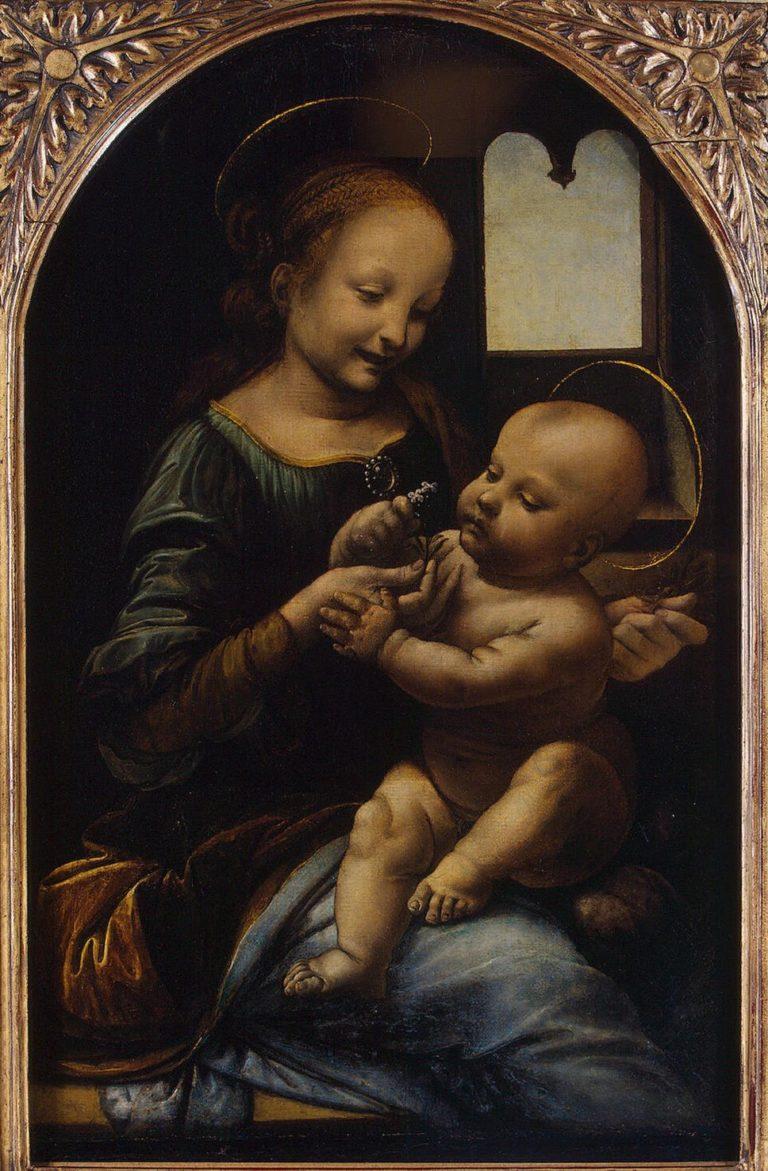 Madonna and the Child (The Benois Madonna) | Leonardo da Vinci | oil painting