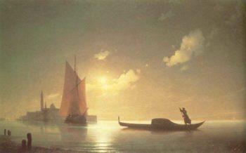 The gondolier on sea at night | Ivan Aivazovsky | oil painting