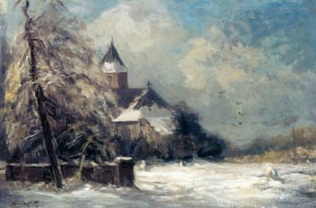 A Church In A Snow Covered Landscape | Louis Apol | oil painting