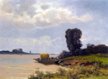 A Ferry In A Summer Landscape | Louis Apol | oil painting