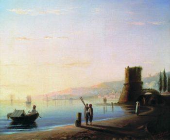 The pier in Feodosia | Ivan Aivazovsky | oil painting