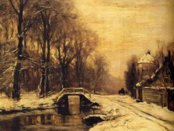 A Snowcovered Forest With A Bridge Across A Stream | Louis Apol | oil painting