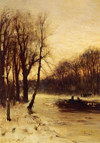 Figures In A Winter Landscape At Dusk | Louis Apol | oil painting