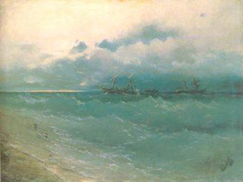 The ships on rough sea sunrise | Ivan Aivazovsky | oil painting
