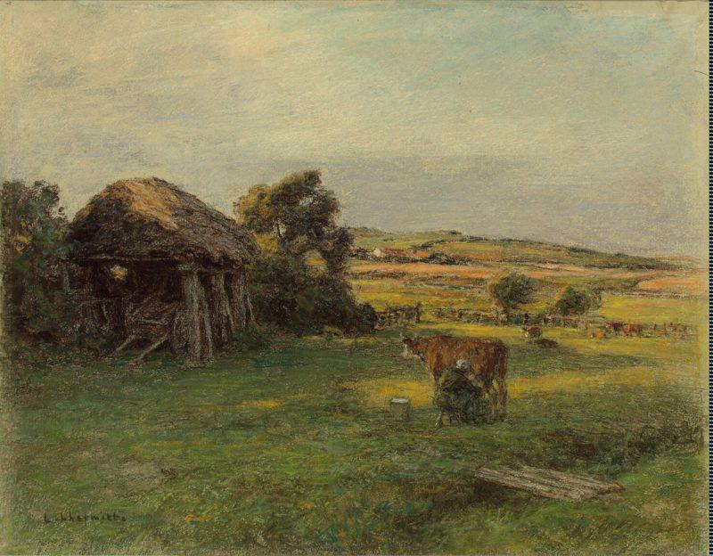 Landscape with a Peasant Woman Milking a Cow | LHermitte (Lhermitte) Leon Augustin | oil painting