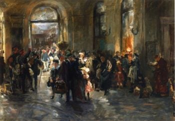 At the Station   Ferdinand Brutt   oil painting