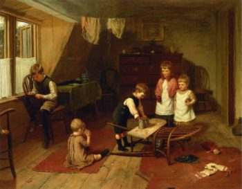 Children at Play   Harry Brooker   oil painting