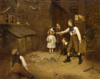 Training the Pigeons   Harry Brooker   oil painting
