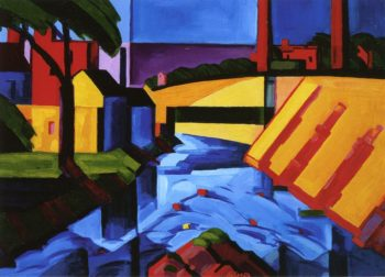 Evening Tones Bronx River at Mount Vernon Private Collection | Oscar Bluemner | oil painting
