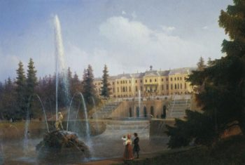 View of the Big Cascade in Petergof and the Great Palace of Petergof | Ivan Aivazovsky | oil painting