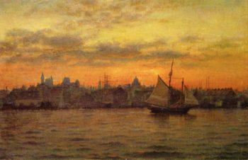Boston Harbor at Sunset | William Partridge Burpee | oil painting