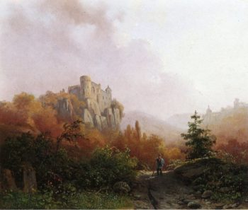 Summer A Peasant on a Rocky Path a Ruin in the Background | Alexander Joseph Daiwaille | oil painting