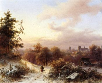 Winter A Peasant on a Path in a Wooded Landscape a Town in the Background | Alexander Joseph Daiwaille | oil painting
