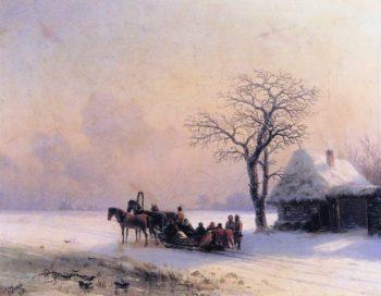 Winter Scene in Little Russia | Ivan Aivazovsky | oil painting