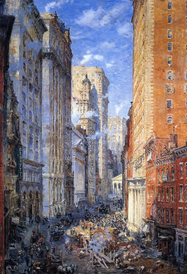 Broad Street Canyon New York | Colin Campbell Cooper | oil painting