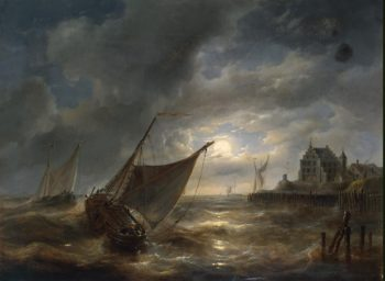 Harbour by Night | Verboeckhoven Charles Louis | oil painting