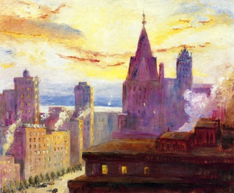 Rooftops at Sunset | Colin Campbell Cooper | oil painting