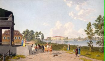 View of the Kamennoostrovsky Palace from Aptekarsky Island in St Petersburg | Lory Gabriel I Ludwig | oil painting