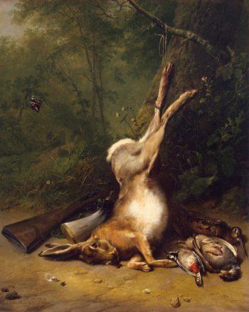 Still Life with a Hare | Verboeckhoven Eugene Joseph Koekkoek Barend Cornelis | oil painting