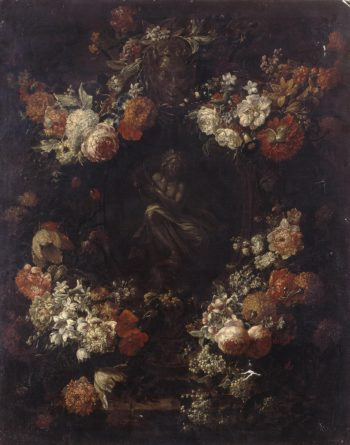 Apollo the Kithara Player Framed with a Garland of Flowers | Verbruggen Gaspar-Pieter II | oil painting