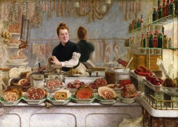 A Pork Butchers Shop | Edouard Jean Dambourgez | oil painting