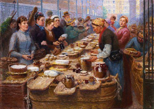 Cream and Cheese Merchants of Les Halles | Edouard Jean Dambourgez | oil painting