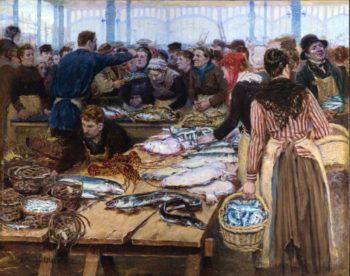 Fish Auction at Les Halles | Edouard Jean Dambourgez | oil painting