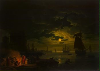 Entrance to the Port of Palermo in the Moonlight | Vernet Claude Joseph | oil painting
