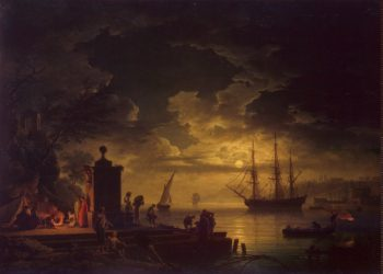 Moonlit Scene in the Environs of Citta Nuova in Illyria | Vernet Claude Joseph | oil painting