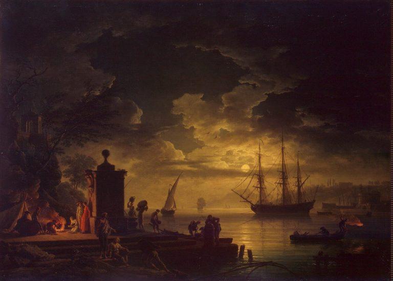 Moonlit Scene in the Environs of Citta Nuova in Illyria | Vernet Claude Joseph | oil painting