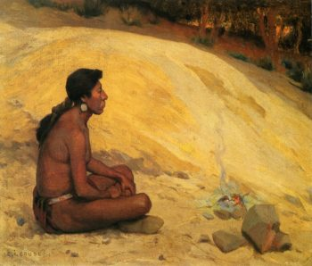 Indian Seated by a Campfire | E Irving Couse | oil painting