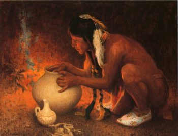 Making Pottery | E Irving Couse | oil painting