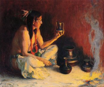 Taos Indian and Pottery | E Irving Couse | oil painting