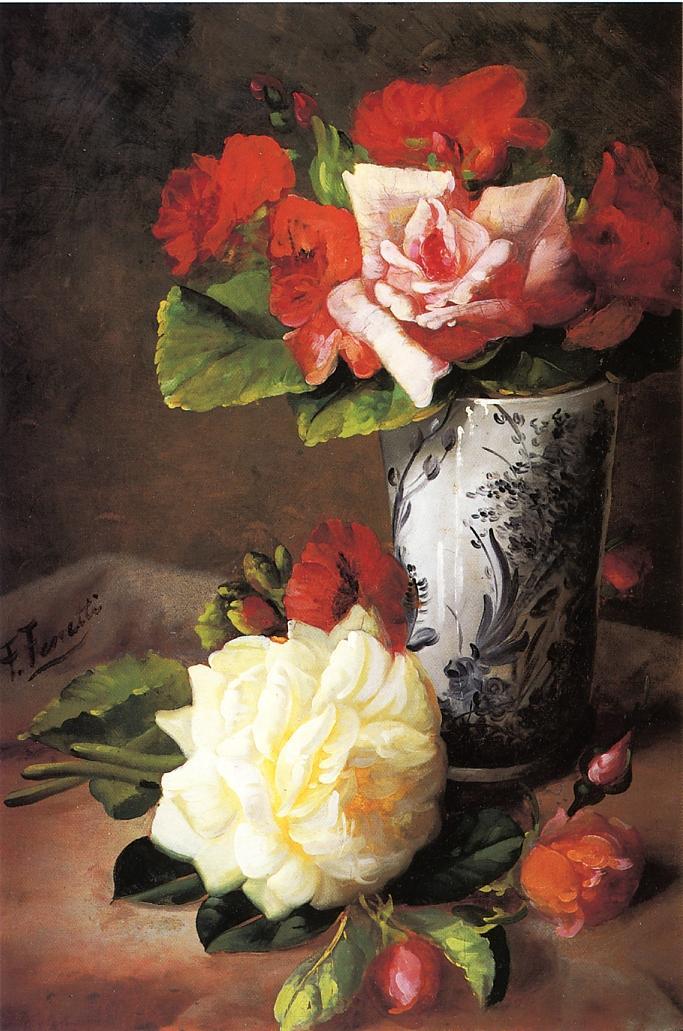 Still Life of Roses   Frederick M Fenetti   oil painting