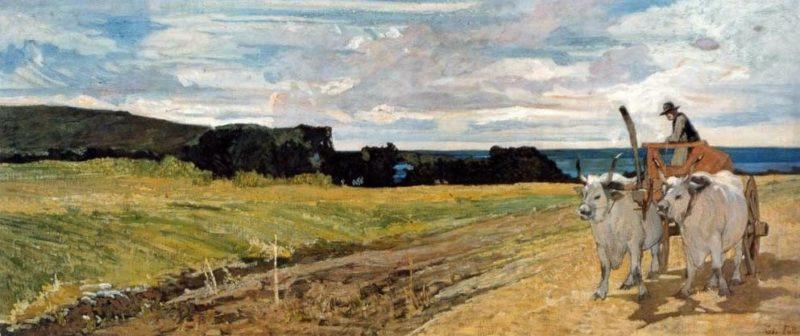 Buoi al carro | Giovanni Fattori | oil painting
