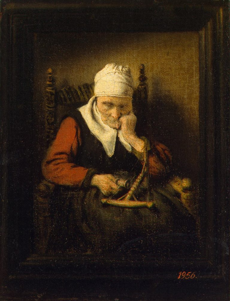 Old Woman Spinning | Maes Nicolaes | oil painting