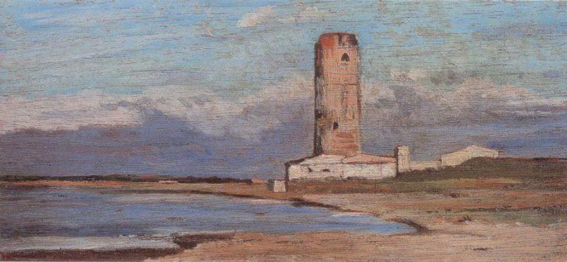 La torre rossa   Giovanni Fattori   oil painting