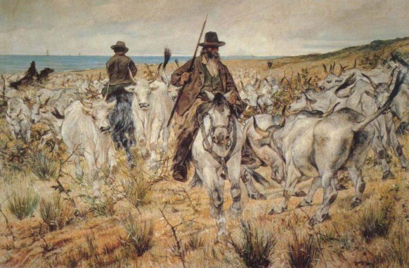 Mandrie Maremmane   Giovanni Fattori   oil painting