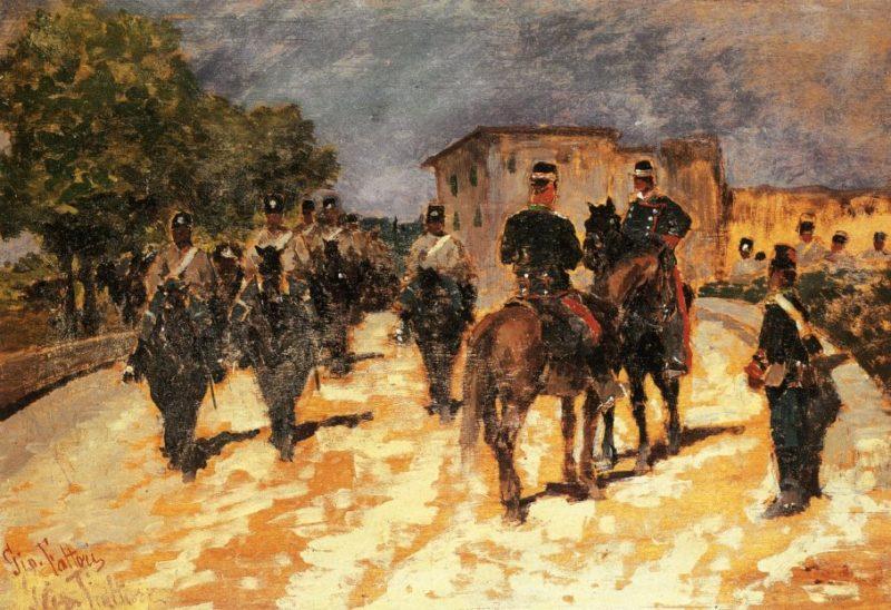 Soldati in marcia | Giovanni Fattori | oil painting