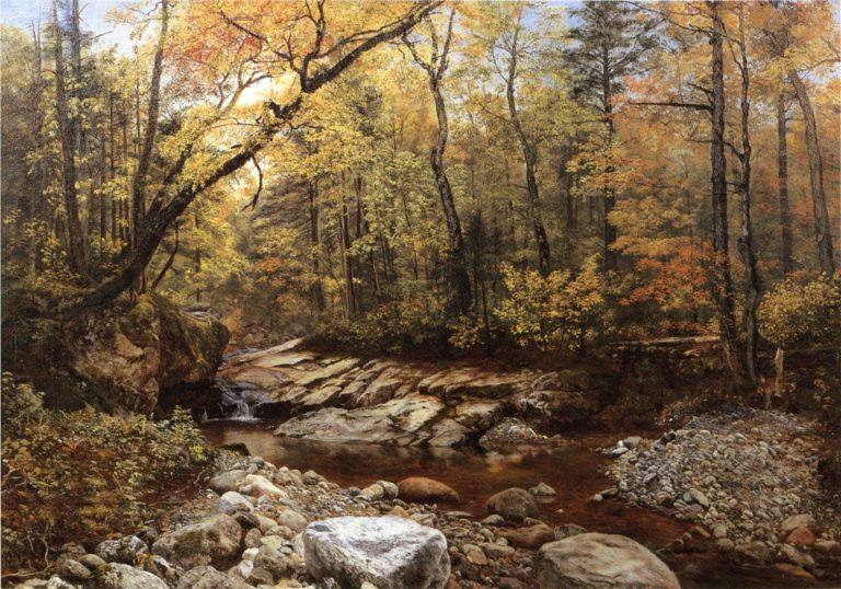 Brook in Autumn Keene Valley Adirondacks   John Lee Fitch   oil painting