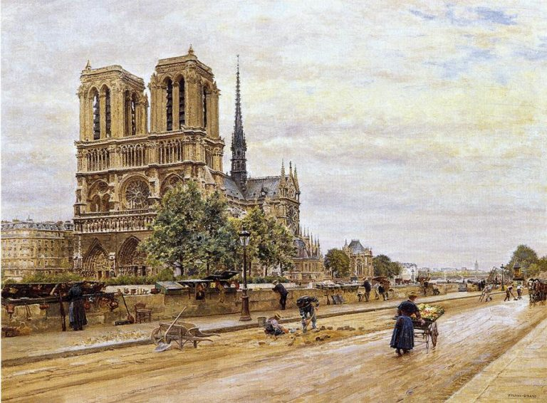 Notre dame de Paris and the Flower Market | Marie Francois Firmin Girard | oil painting