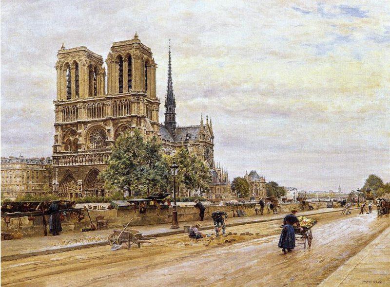 Notre dame de Paris and the Flower Market   Marie Francois Firmin Girard   oil painting