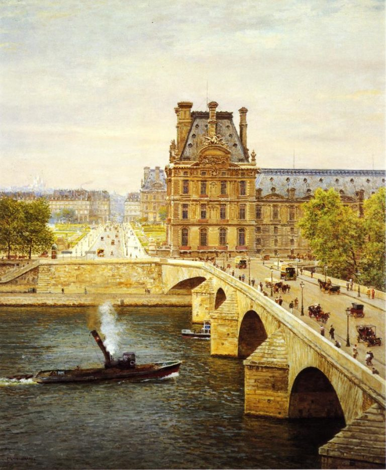 The Pont Royale and The Louvre View of the Seine | Marie Francois Firmin Girard | oil painting