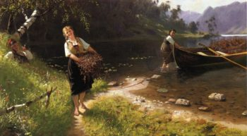 Returning from a Days Outing | Hans Dahl | oil painting