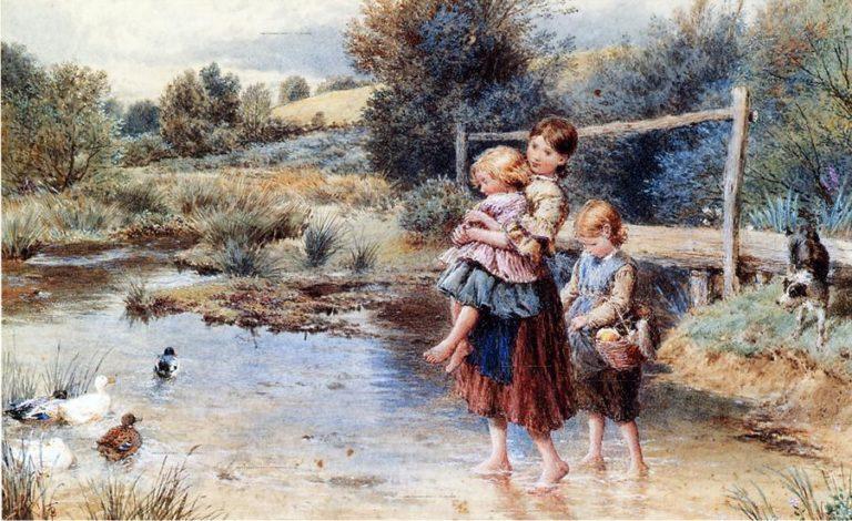 Children Paddling in a Stream | Myles Birket Foster | oil painting